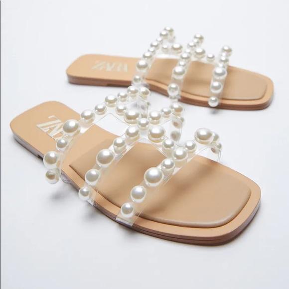 ZARA Slide Sandals with Pearls
